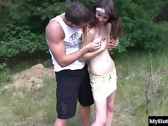 Small tits teen enjoying doggystyle ravishing in the forest