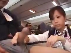 Japanese, Asian, Handjob, Japanese, Public, Stewardess