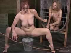 Slave pissing then getting screwed with toys in BDSM