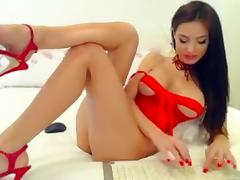 Sexy babe in red lingerie teasing and seducing in webcam