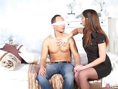 Blindfolded, Big Tits, Blindfolded, Blowjob, Boobs, Brunette