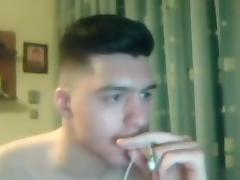 Greek handsome boy with big cock round ass on cam
