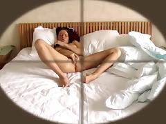 Bed, Bed, Brunette, Fingering, Nude, Voyeur