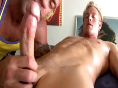 Mature gay masseur sucks blond straight guy