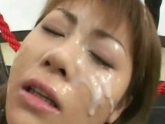 Bukkake asian slut drenched in and drinking cum