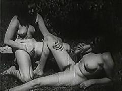 1930, Blowjob, Brunette, Classic, Lesbian, Outdoor