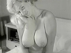 Smiley Naked Cunt Posing in Her Bedroom 1950