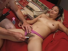 Asian Hairy Pussy Girl Performs on a Hardcore Fucking Video Featuring an Old Man