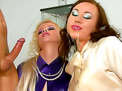 Satin, Blonde, Brunette, Cumshot, Fetish, Glamour