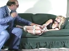 Bound and gagged blonde girl
