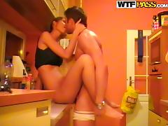 Sexy couple fucking all day long in the kitchen