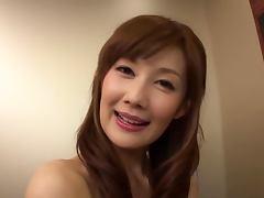 Kinky Japanese Erika Kirihara Giving a Blowjob in the Elevator