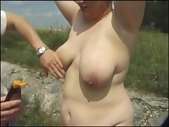 Redhead BBW Slut anal in Outdoors Threesome