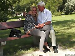 Hot and Sweaty Hardcore Sex With Tight Blonde and Old Fucker