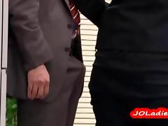 Office Lady Giving Blowjob Jerking Guy Cock In The Busy Office video