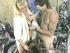 Biker Shop Employees Celebrate End Of Work Day Inviting Some Hookers Over To Give Them Blowjobs