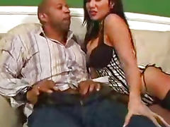 Black guy has thick cock for asian tight pussy