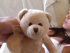 Teddy Bear wakes up the woman so she can get a good Fuck