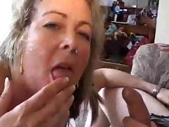 Blonde granny is unable to stop sucking this man's hard cock