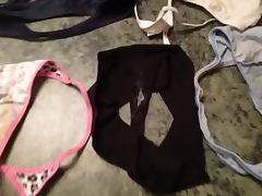Cumming on dirty panties and thongs of sister in law