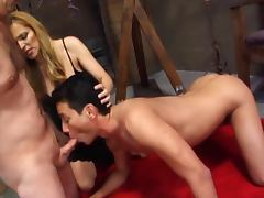 Milf lets her slaves suck cock and eat cum