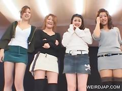 Asian teens showing undies upskirt