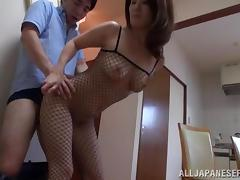 Miina Ichinose gets fucked from behind in her fishnet bodystocking