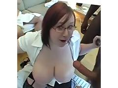 Chunky large breasted Scottish readhead jizzed on