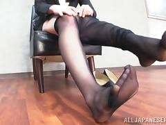 Yuri Sato demonstrates her footjob skills to some guy video