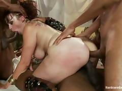 Interracial Gangbang for Bella Rossi with DP From Big Black Cocks