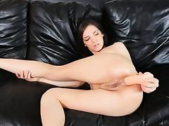 Hard vibrator deeply in her asshole