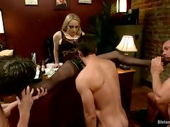 Office Femdom Making Three Guys Go Bisexual with Each Other