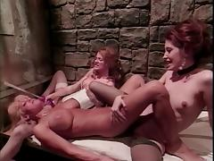 Sado lesbian threesome in prison cell