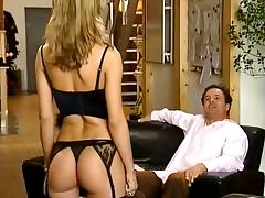 Gorgeous blonde in stockings gets her ass drilled doggy style
