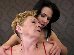 Granny Denise Sky kisses brunette Malya