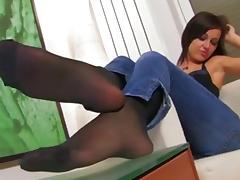Brunet teasing in nylons