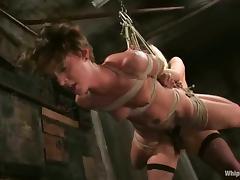 Harmony dominates and fucks slutty chick Sara Faye in a cellar