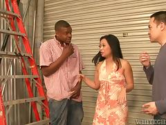Lucky Starr gets her Asian holes fucked hard by a black stud