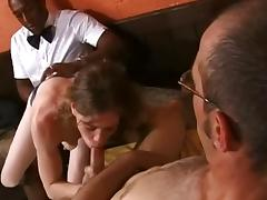 British stud Omar joins a couple in a cafe for a threesome