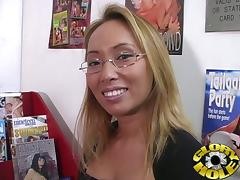 Asian Girl Gets Some Black Cock at a Porn Store Gloryhole