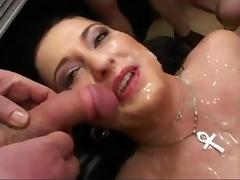 German slut receives a facial and is drilled very rough