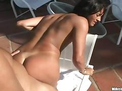 Delightful Brazilian is going to moan on his cock