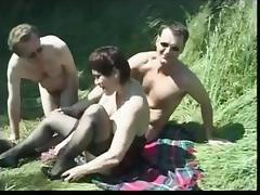 Amateur Hot Brit Mature Picnic Mmf threesome