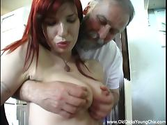 Incredible Redhead Goes Hardcore With A Disgusting Old Man