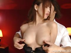 Akiho Yoshizaw gets her Asian coochie fingered and banged deep