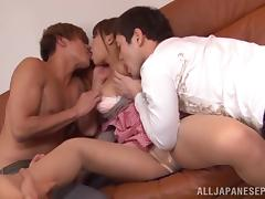Japanese milf enjoys hardcore threesome sex