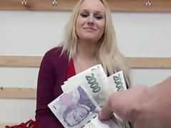 Busty blonde Angel Wicky fucks for cash