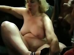 Amateur fatty granny gangbanged by mechanics