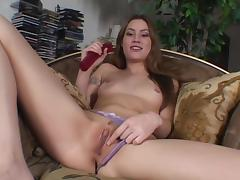 Jassie shows her pierced nipples and shaved coochie