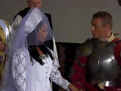 Lovely porn chick Roxy Panther in a royal costume fucks her king